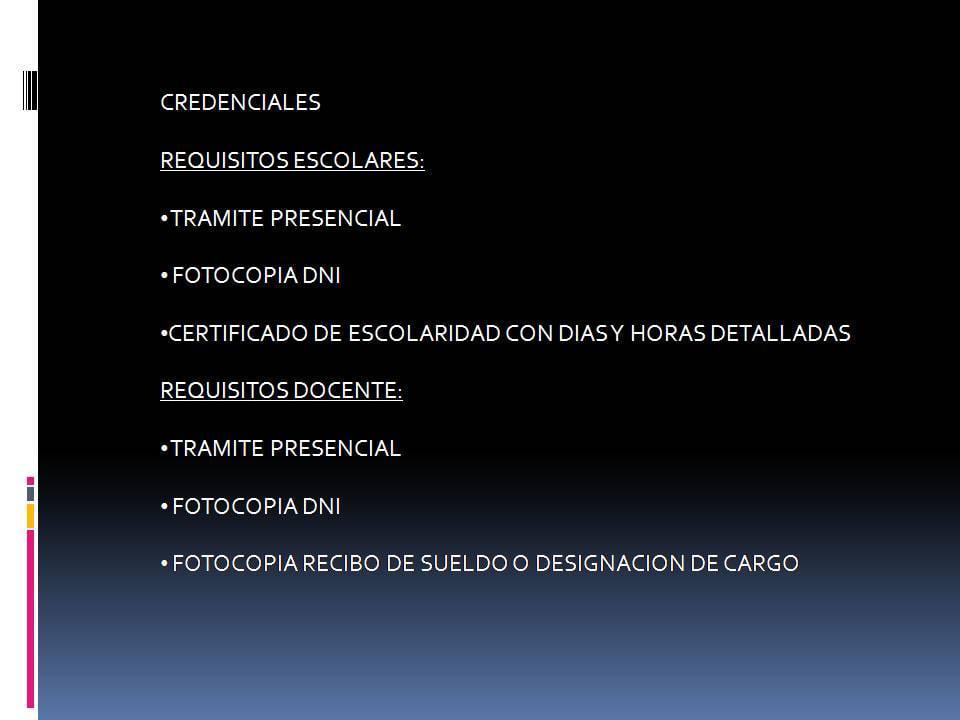 requisitos para las credenciales